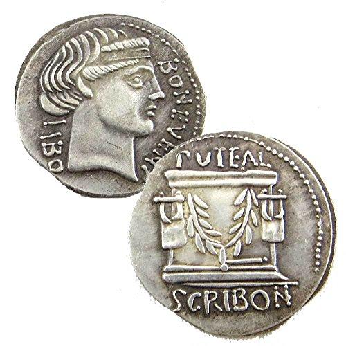 Riproduzione replica moneta denario antica roma scribonia bonus eventus 62 a.c.