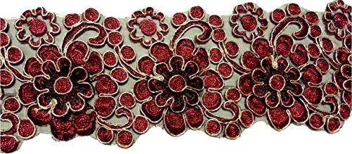 Glitzer Bordüre Sari Borte Spitze Stoff Stickerei breit für Kleider farbig zum nähen Farbvarianten (rot)