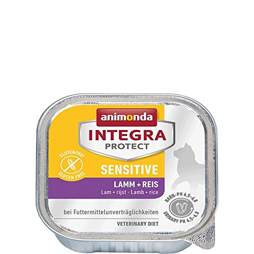 Animonda Integra Protect Sensitive Katzenfutter Lamm + Reis, 16er Pack (16 x 100 g)