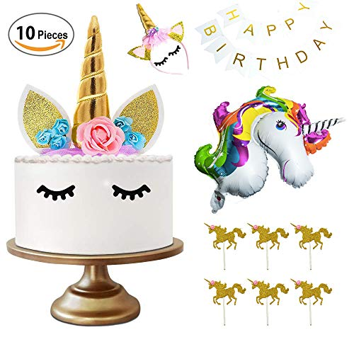Einhorn Party Kindergeburtstag Tortendekoration, Einhorn Kuchen Deko Geburtstag Set Unicorn Cake Topper Cupcake Toppers Happy Birthday Banner Stirnband, Folien Ballon Einhornkuchen Geburtstagskuchen