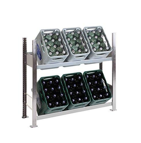 SCHULTE Getränkekisten-Grundregal 1000 x 1060 x 336 mm, komplett verzinkt, 2 Ebenen, für bis zu 6 Kästen; MADE IN GERMANY