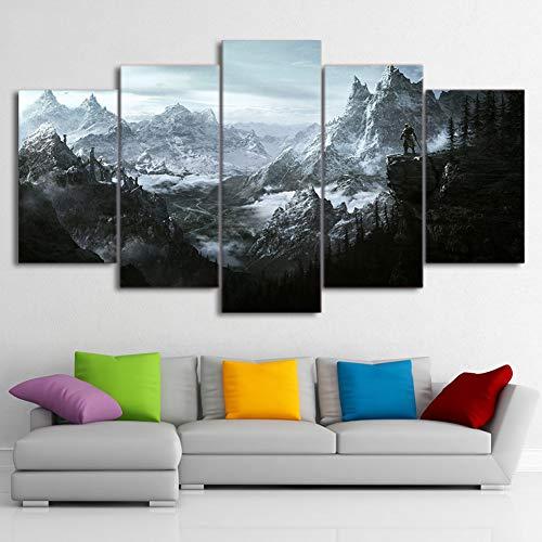SXFuture HD 5 Stück Leinwand Gemälde - Alte Schriftrollen V Skyrim Poster - Drucke Bilder für Wohnzimmer Wand Kunst Wohnkultur,B,40×60×2+40×80x2+40×100×1 -