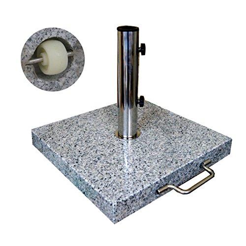 1 Stk. Granitschirmständer 30 kg reckig Rollen Edelstahl Adapter Sonnenschirmständer Granit 30kg Ständer für Schirmmasten von 28-50 mm