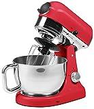 Medion MD 16480 Premium Küchenmaschine (1000 Watt, 8 Geschwindigkeitsstufen, Edelstahlschüssel, mischen, 4,6 Liter, kneten rühren) rot