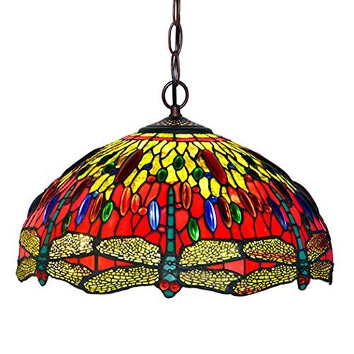 Europea Tiffany Style singolo-testa della libellula Pendente di vetro macchiato luce lampada a sospensione calda lampadario luce for Camera Hotel Cafe Study Room Restaurant plafoniera DENG20190922