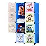 BRIAN & DANY Armadio Modulare Bambini, Portatile Guardaroba, Armadietto in Moduli Plastici, 8 Cubo, Blu, 75 x 47 x 147 cm