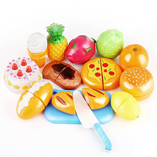 Play Food Cutting Set for Kids Kitchen Play Game with Plastic Vegetables Fruits Hamburger Cake Cutting Board Set and Apron by Peradix