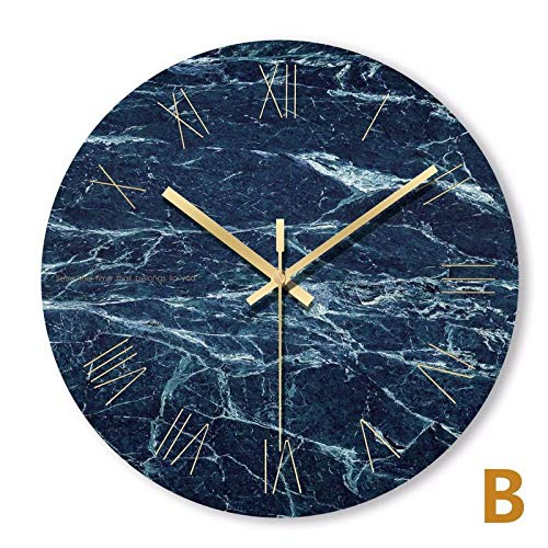 Northerncold geräuscharmmit Edelstahl Rahmen,Wanduhr, Wanduhr, Wanduhr, Marmorquarzuhr, Moderne Uhrenkunst, rahmenloses Wohnzimmer, einfache runde Form, kein Spiegel @ Blue-B,Leise Quartz Wanduhr mit
