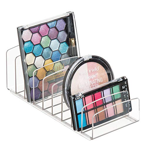 mDesign Kosmetik Organizer aus Kunststoff - Schminkaufbewahrung mit 9 Steckplätzen - Aufbewahrungsbox für den Waschtisch, Schminktisch oder Schrank - durchsichtig