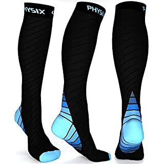 Physix Gear Compression Socks for Men & Women 20-30 mmhg, Best Graduated Athletic Fit for Running Nurses Shin Splints Flight Travel & Maternity Pregnancy - Boost Stamina Circulation & Recovery BLU LXL