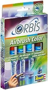 Orbis 30101 Set B - Set de recarga para aerógrafo (incluye 4 cartuchos de tinta), color naranja, verde, azul y marrón importado de Alemania