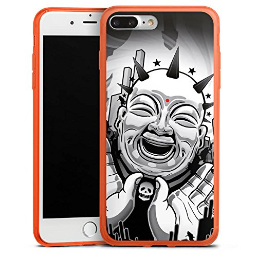 DeinDesign Apple iPhone 7 Plus Slim Case transparent neon orange Silikon Hülle Schutzhülle Buddha Schwarz Weiss Black White