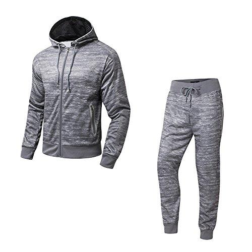 AIRAVATA Herren Trainingsanzug Jogginganzug Fitnessanzug Kapuzenpulli Gym Laufen Set