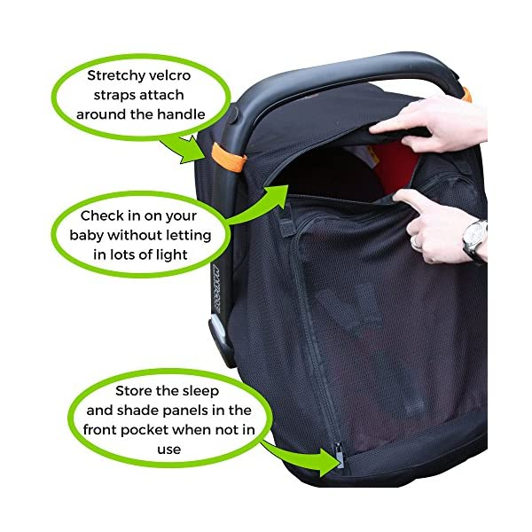 SnoozeShade Baby Car Seat Canopy | Sunshade and Baby Blackout Blind for Group 0/Plus Infant Car Seats and Carriers | Blocks 99% UV SnoozeShade Did you know that doctors worldwide recommend keeping babies under 6 months out of direct sunlight completely? Our SnoozeShade car seat cover makes it easy to do. It's a sun and sleep shade designed to use with infant carriers with a rigid handle and also protects baby from wind, chill, insects and light rain Our car seat canopy does two important jobs - it helps baby sleep AND protects baby from the sun (99% of UV is blocked). 3