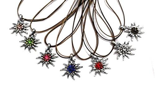 Wunderschöne Halskette in Edelweiß-Optik Silber Rot