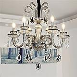 LIGHT Lámparas de araña Cristal candelabro Colgante de luz Retro Negro Sala Restaurante Cuarto Moderno Sencillo luz de Vela,6 Head