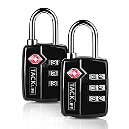 TACKLIFE-Lucchetto per valigie combinazione,2 PEZZI Lucchetti per bagagli di sicurezza doganale TSA 3 cifre Combinazione…