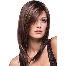 BeautyWig Lungo Dritto Parrucche 15 Inch Dritto Capelli con Lato frangia Sintetico  Calore Resistente Parrucche per 81273a9c2fe9