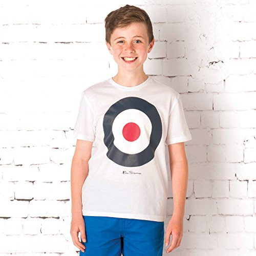 Ben Sherman Junior da bambino con Logo In stile Casualwear t_shirt bersaglio per bambini, colore: bianco Bianco bianco