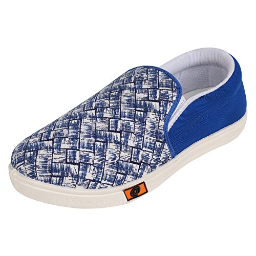 World Wear Footwear Men's Blue Canvas Loafers & Mocassins-9  available at amazon for Rs.198