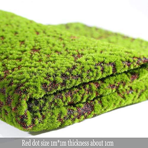 SUNNAIYUANKunstrasen Kunstrasenteppich Gefälschte Moos Gras Rasen DIY Synthetische Rasen Landschaft for Indoor Outdoor Decor, 3,28x3,28 ft (Color : Red dot) (Outdoor-gras Dach)