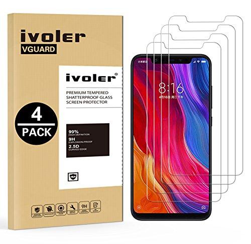 iVoler [4 Stücke] Panzerglas Schutzfolie für Xiaomi Mi 8 / Xiaomi Mi 8 Pro, 9H Härte, Anti- Kratzer, Bläschenfrei, [2.5D R&e Kante]