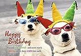 DeCoArt...... 1 Geburtstagskarte Hunde mit Brille und Clownskostüm mit Umschlag 11,5 x 16,6 cm