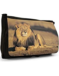 Lions Black Large Messenger School Bag