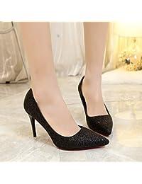 Presidente Carrera zapatos de mujer boca superficial solo zapatos con punta fina hembra, negro,37