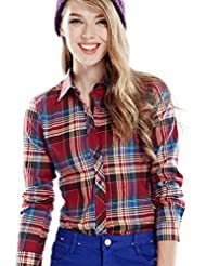 Y-BOA Chemisier Femme/Fille Étudiant Carreaux Revers Blouse Outwear Casuel