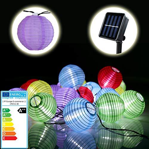 Jago 1 Bunte Solar Lichterkette Lampion Gartenbeleuchtung Solarlampen in verschiedenen Längen