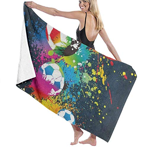 xcvgcxcvasda Serviette de bain, Colorful Football Soccer Colored Personalized Custom Women Men Quick Dry Lightweight Beach & Bath Blanket Great for Beach Trips, Pool, Swimming and Camping 31
