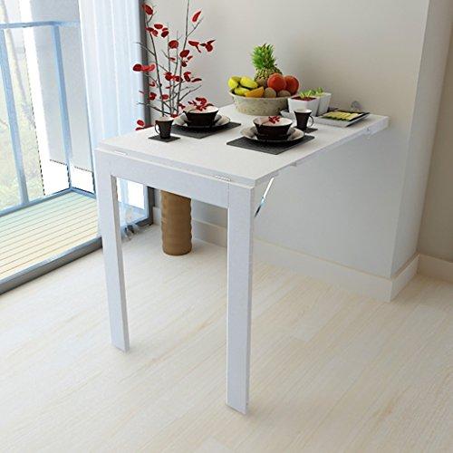Table murale rabattable en bois HWF Ordinateur de Bureau Pliant Murale Ordinateur de Bureau Bureau Table à Manger Blanc Noir (Couleur : Blanc)