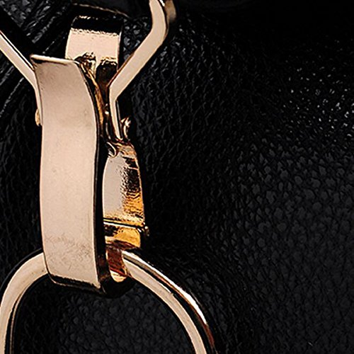 Mädchen Leder Reise Rucksack Mini Casual Zipper Rucksack,Black RoseRed