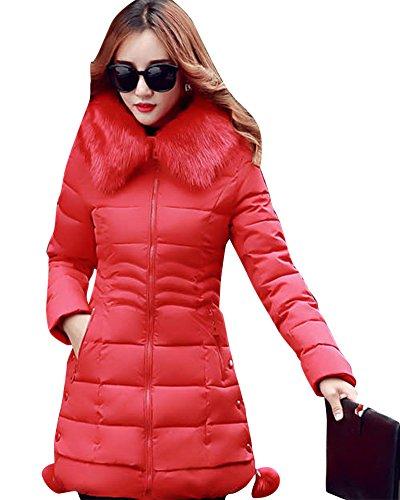 Zhuikun donna lunga giacca collo di pelliccia cerniera imbottito spessa giubbotto con cappuccio cappotti rosso s
