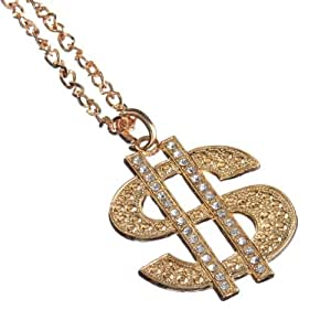Jewellery of Lords Gold Plated Big Bling Money USD Dollar Pendant Hip Hop Rapper Chain Necklace