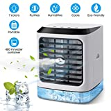 OUTERDO Air Cooler, Portable Air Conditioner, Mist Humidifier, Mini Desk Cooler, Fan/Diffuser/LED Lights 3-in-1 Mini AC,Mist Spray Diffuser for Personal Home&Office with USB Cable