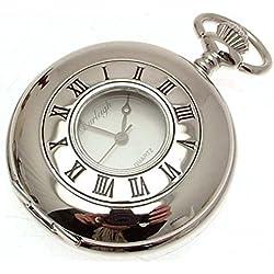 Silver Coloured Half Hunter Quartz Pocket Watch And Chain