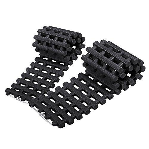Juego de 2 alfombrillas para tracción de los neumáticos, de emergencia, color negro
