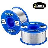 TABIGER 2 pezzi di Filo per Saldatura Elettrica(1mm e 0.8mm), Rotolo Stagno per Saldatura con anima di colofonia 97Sn-2Rosin-0.7Cu-0.3Ag, 100g / pz (s), senza piombo per microsaldature saldare.