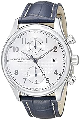 Frederique Constant Men's 42mm Blue Leather Band Steel Case Automatic Silver-Tone Dial Watch FC-393RM5B6