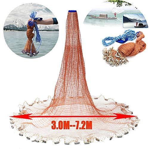 Zaoyun Wurfnetz Angelnetz Nylon Gaze Netz mit 3.0-7.2m / Handschlaufe -