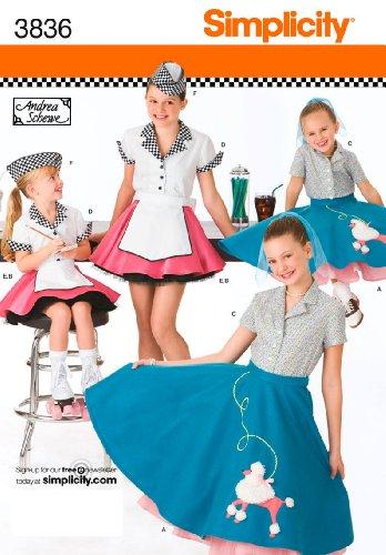 Simplicity Schnittmuster 3836HH Kinder und Mädchen (Für Mädchen Kostüme 1950's)