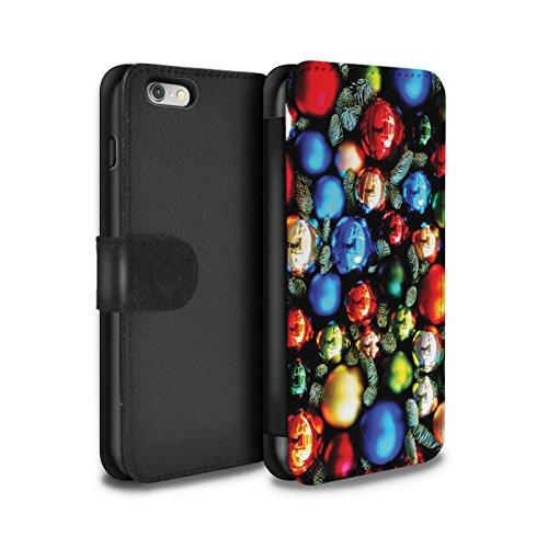 Stuff4 Coque/Etui/Housse Cuir PU Case/Cover pour Apple iPhone 6S / Cadeau Or Design / Photo de Noël Collection Décorations Arbre