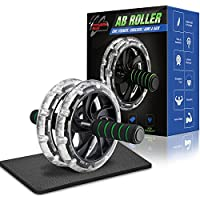FitnessBug Ab Roller Wheel Core Strength Exercise Abdominal Training Workout inc Knee Mat