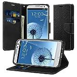 Galaxy S3 Hülle, Supad Schutzhülle für Samsung Galaxy S3 / S3 Neo Hülle Leder Wallet Tasche Flip Case Etui Handyhülle (Schwarz)