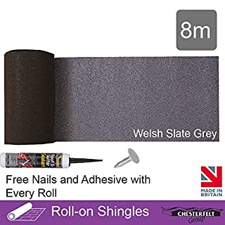 Ashbrook Roofing Chesterfelt Roll-On Shingles Ridge Roll | Shed Felt Shingles | FREE Adhesive | 8m | Welsh Slate Grey