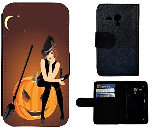 Flip Cover Schutz Hülle Handy Tasche Etui Case für (Samsung Galaxy S3 Mini i8190 i8200, 1579 Hexe Kürbis Halloween - Halloween-cartoon-hexe