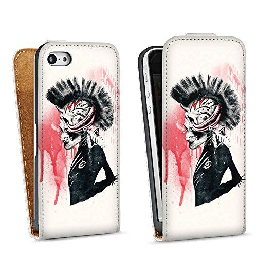 Apple iPhone 5 Housse étui coque protection Punk Tête de mort Crâne Sac Downflip blanc