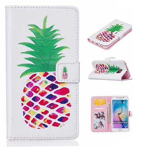 Per iPhone 6Plus/6s Plus case [con schermo temperato], Qimmortal multifunzionale portafoglio in pelle PU a libro con chiusura magnetica Flip con carta carta durevole TPU bumper rubber inside Perfect Pineapple